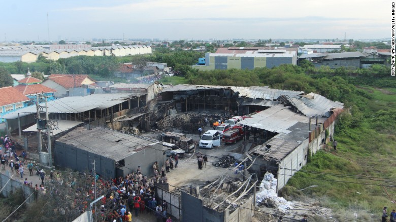 An explosion at a fireworks factory on Thursday near the Indonesian capital, Jakarta, tore off parts of the building's roof.